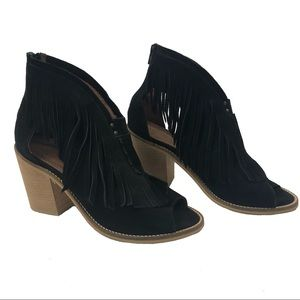 Musse And Cloud Shoes - MUSSE and CLOUD Galia Fringe Peep Toe Booties